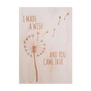 Houten Wenskaart - I made a wish