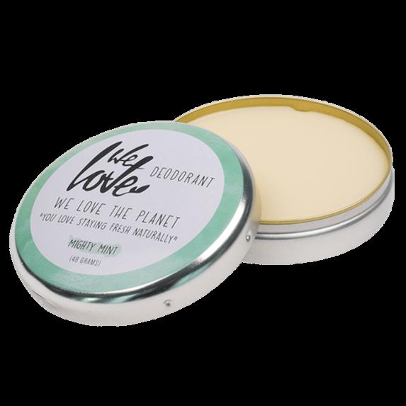 Natuurlijke Deodorant Blikje Mighty Mint (open) - We Love The Planet