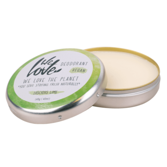 Natuurlijke Deodorant Vegan Luscious Lime blikje open - We Love the Planet